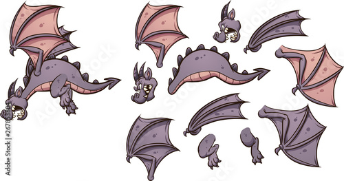 Flying cartoon dragon with different parts ready for animation clip art Tablou Canvas
