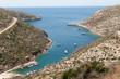 Porto Vromi, Zakynthos, Greece from the mountain road above.