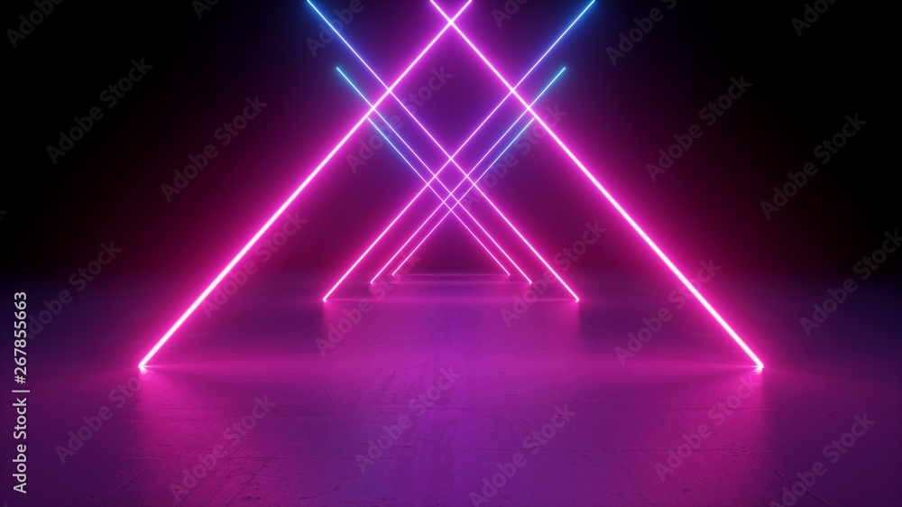 Fototapety, obrazy: 3d render, neon light rods, pink and blue lines, tunnel in virtual reality, triangular corridor, ultraviolet abstract background, laser show stage, fashion catwalk podium, road