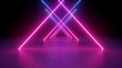 3d render, neon light rods, pink and blue lines, tunnel in virtual reality, triangular corridor, ultraviolet abstract background, laser show stage, fashion catwalk podium, road