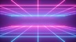 Leinwanddruck Bild 3d render, abstract neon background, virtual reality space, pink blue grid in ultraviolet spectrum, chart field, frontal perspective view