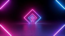 3d Render, Neon Light, Rhombus...