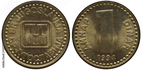 Fotografia  Yugoslavia Yugoslavian coin 1 one dinar 1994, emblem in center, country name in