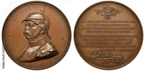 Germany German bronze medal 1897, subject Chancellor Bismarck as creator of Germ Fototapeta