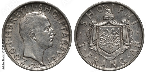 Fotografia  Albania Albanian silver coin 1 one frang ar 1935, head of King Zog I right, coat