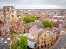 Aerial View Of York Minster In Cloudy Day, England