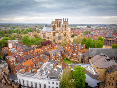 Recess Fitting Northern Europe Aerial view of York Minster in cloudy day, England