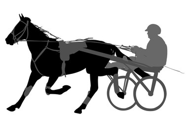 horse and jockey harness racing silhouette
