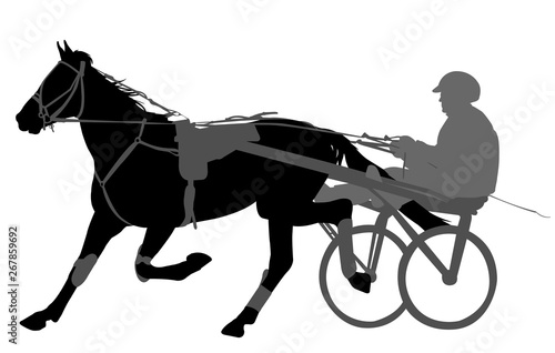 Fototapeta horse and jockey harness racing silhouette obraz