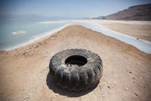 An Abandoned Tire Near The Dead Sea, Israel