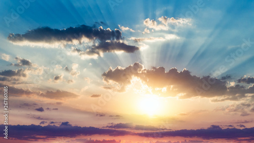 fototapeta na ścianę Beautiful heavenly landscape with the sun in the clouds . Paradise heaven . light about the sky . above sky clouds . Above the clouds .