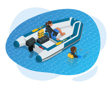 Isometric Inflatable Boat. A Modern Inflatable Boat With Rigid Wooden Floorboards, A Transom And An Inflatable Keel, Powered By An Electric Trolling Motor.