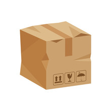 Damaged Crate Boxes 3d, Broken Cardboard Box Brown, Flat Style Cardboard Parcel Boxes, Packaging Cargo, Isometric Boxes Brown, Packaging Box Brown Icon, Symbol Carton Box Isolated On White Background