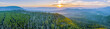 Leinwanddruck Bild - Sunset over mountains and forest in Yarra Ranges National Park - aerial panoramic landscape