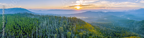 Cadres-photo bureau Bleu vert Sunset over mountains and forest in Yarra Ranges National Park - aerial panoramic landscape