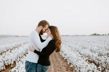 Happy Couple In A Cotton Field
