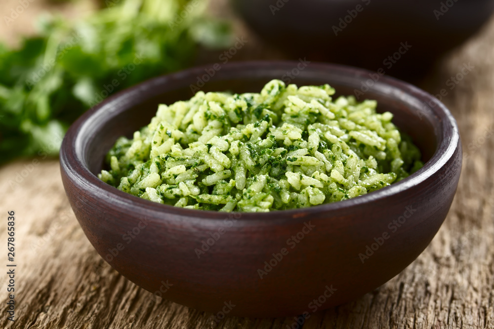 Fototapety, obrazy: Traditional Mexican Arroz Verde green rice dish made of long-grain rice, spinach, cilantro and garlic, served in rustic bowl (Selective Focus, Focus in the middle of the image)