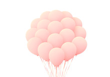 Pink Balloons Bunches Realistic Isolated On White Background