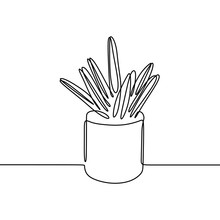 Cactus One Line Continuous Drawing Minimalism Design