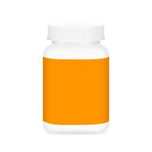 White Medicine Bottle And Orange Label, Bottle Plastic White Packaging Single Blank For Template Design White Background, Package Bottle Packing Pill, Medicine, Vitamin, Drug Tablet, Supplement