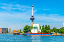 Floating Chinese Restaurant In Front Of Euromast Tower In Rotterdam, Netherlands