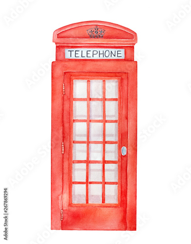 Fotografie, Obraz  British red telephone box watercolor illustration