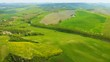 Aerial view of Tuscany green hills in the spring day
