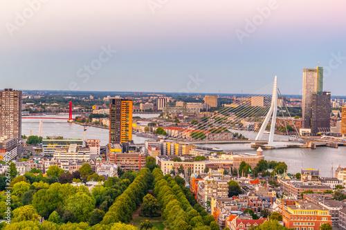 Foto auf Leinwand Rotterdam Sunset aerial view of Erasmus bridge and skyline of Rotterdam, Netherlands