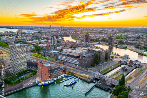 Sunset aerial view of Port of Rotterdam, Netherlands