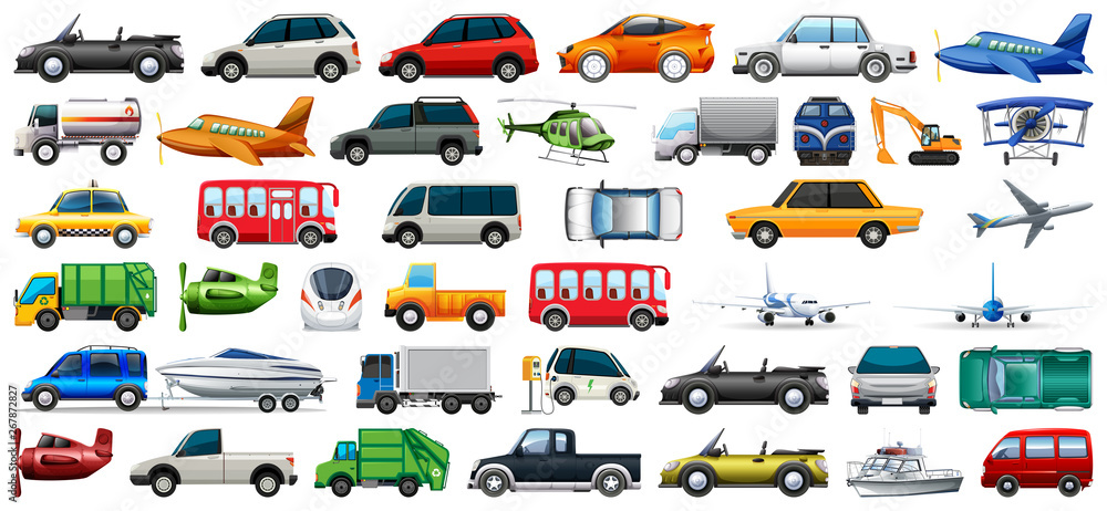 Fototapeta Set of transportation vehicle