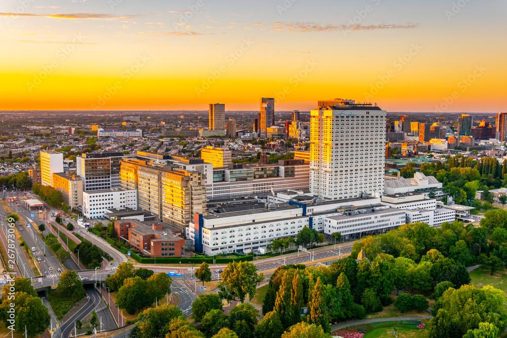 Fototapety, obrazy: Night view of Erasmus university hospital in Rotterdam, Netherlands
