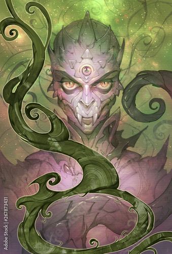 Slika na platnu Fantasy portrait illustration of a weird and sinister reptilian creature from ne