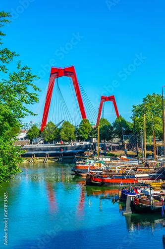 Foto auf Gartenposter Rotterdam Willem bridge in Rotterdam, Netherlands
