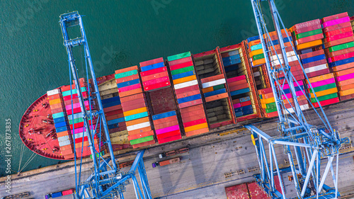 Foto auf AluDibond Shanghai Container ship loading and unloading in deep sea port, Aerial top view of logistic import export transportation business by container ship in open sea.