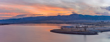 Winter Sunset At Chatfield - A Panoramic Sunset View Of Chatfield Reservoir At The Foothill Of Front Range Of Rocky Mountains. Chatfield State Park, Littleton, Colorado, USA.