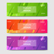 Vibrant gradient and modern futuristic geometric shape background template for headline and header banner in orange, purple, green color. Suitable for social media, web, blog, website.