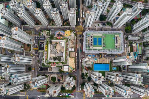 Photo  Top down view of Hong Kong apartment building