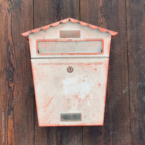old mailbox on brick wall Canvas Print