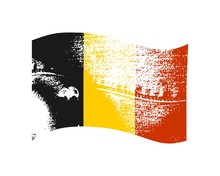 Belgium Flag Waved Design Concept. Flags Collection Textured In Grunge Style. Image Relative To Travel And Politic Themes. Rough Jeans Texture