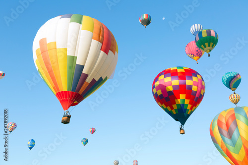 Poster Balloon Multi colored hot air balloons in the sky