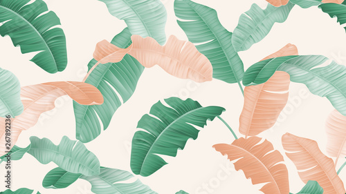 Tropical plants seamless pattern, green and orange banana leaves on light brown background, pastel vintage theme