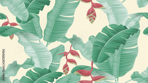 Floral seamless pattern, Heliconia rostrata flowers and leaves on light yellow background, pastel vintage theme