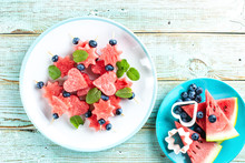 Watermelon Slices In The Shape Of Hearts And Stars