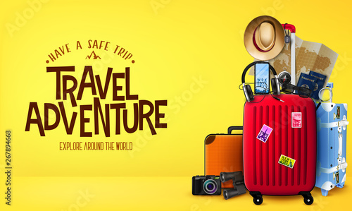 3D Travel Adventure Realistic Banner in Yellow Background Front View with Luggage Bags, Suitcase, Camera, Binoculars, Map, Magnifying Glass, Sunglasses, Car Key, Headset, Passport, Hat,  - 267894668