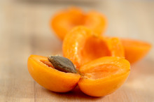 Fresh Ripened Apricots Cut In ...