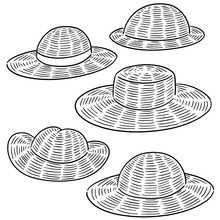 Vector Set Of Straw Hat