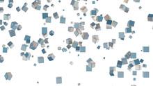 Several Light Blue Cubes Scattered