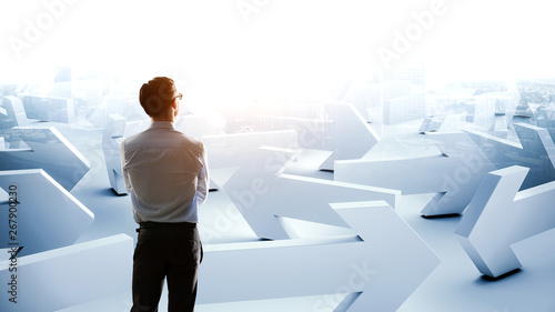 Young businessman and lots of arrows with different directions Wallpaper Mural