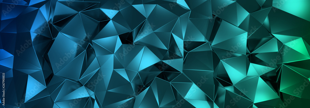 Fototapety, obrazy: 3d ILLUSTRATION, of abstract crystal background, triangular texture, wide panoramic for wallpaper