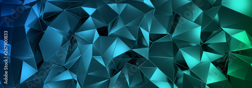 Photo  3d ILLUSTRATION, of abstract crystal background, triangular texture, wide panora